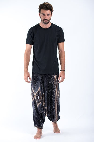 Diamond Peacock Drop Crotch Men's Harem Pants in Black