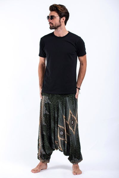 Diamond Peacock Drop Crotch Men's Harem Pants in Green