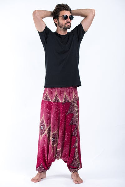 Diamond Peacock Drop Crotch Men's Harem Pants in Red