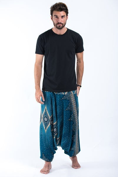 Diamond Peacock Drop Crotch Men's Harem Pants in Turquoise