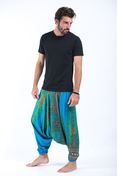 Peacock Eye Drop Crotch Men's Harem Pants in Light Blue