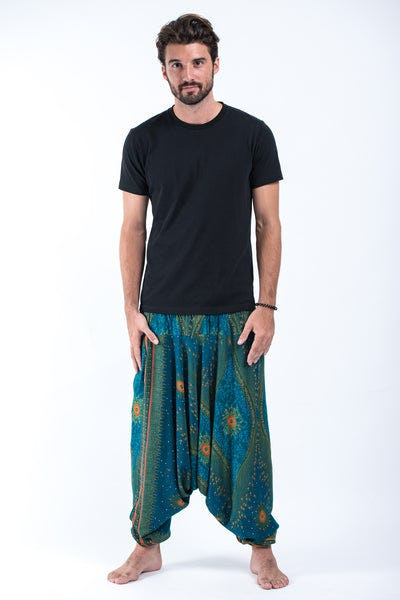 Peacock Eye Drop Crotch Men's Harem Pants in Turquoise