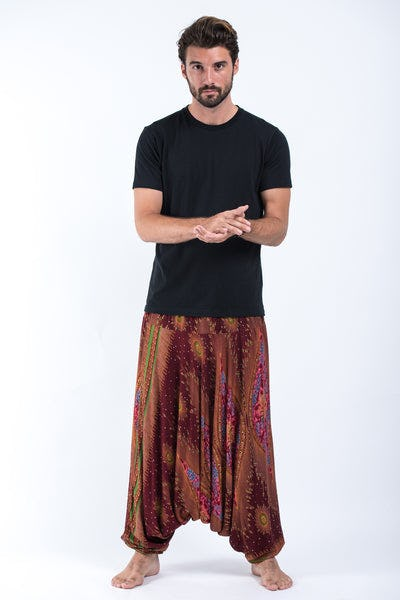 Peacock Eye Drop Crotch Men's Harem Pants in Wine
