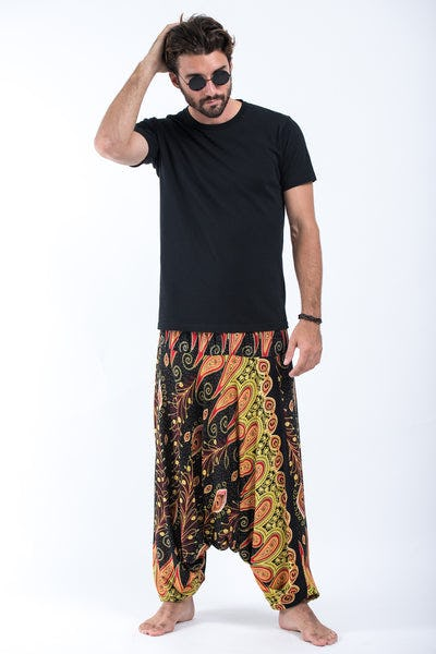Peacock Paisley Drop Crotch Men's Harem Pants in Black