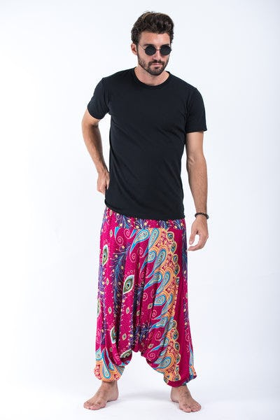Peacock Paisley Drop Crotch Men's Harem Pants in Pink
