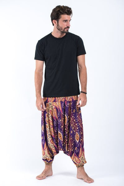 Peacock Paisley Drop Crotch Men's Harem Pants in Purple