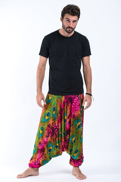Tie Dye Peacock Drop Crotch Men's Harem Pants in Pink