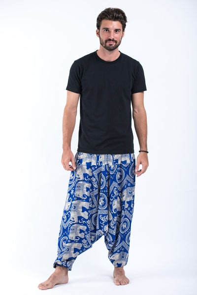 Imperial Elephant Drop Crotch Men's Elephant Pants in Blue