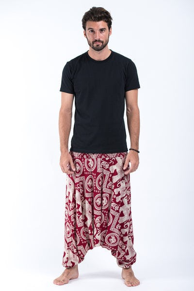 Imperial Elephant Drop Crotch Men's Harem Pants in Red