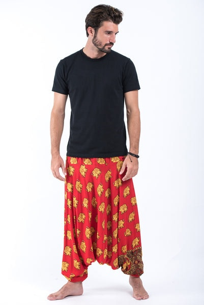 Golden Elephants Drop Crotch Men's Harem Pants in Red