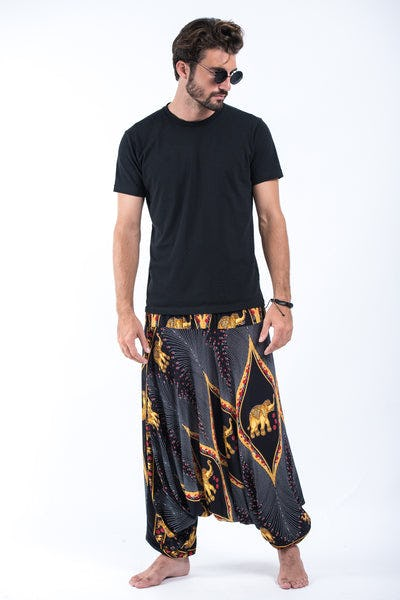 Peacock Elephant Drop Crotch Men's Elephant Pants in Black