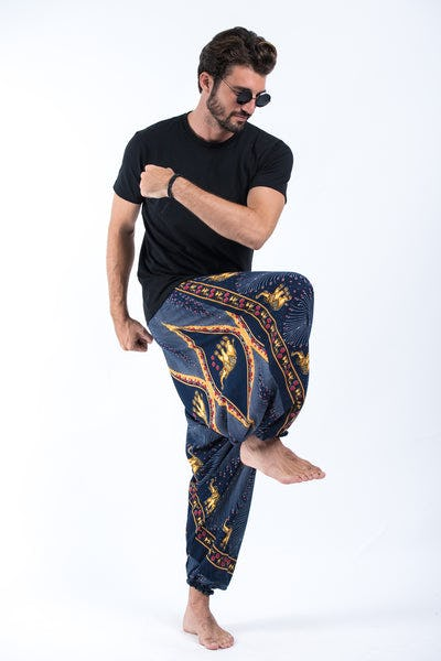 Peacock Elephant Drop Crotch Men's Elephant Pants in Blue