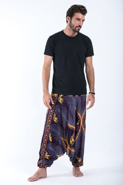 Peacock Elephant Drop Crotch Men's Elephant Pants in Purple