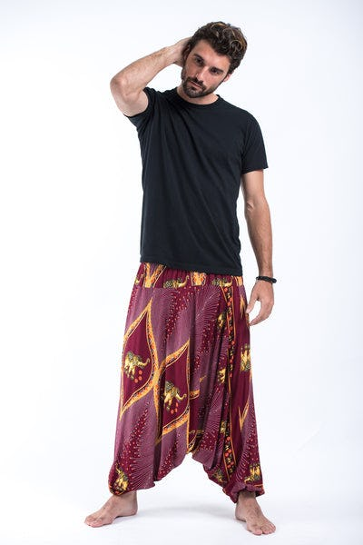 Peacock Elephant Drop Crotch Men's Elephant Pants in Red