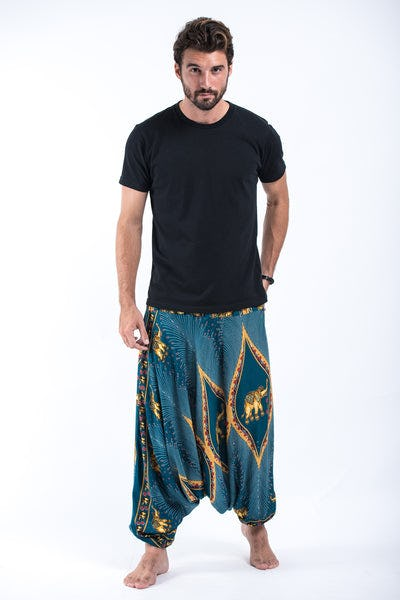 Peacock Elephant Drop Crotch Men's Elephant Pants in Turquoise