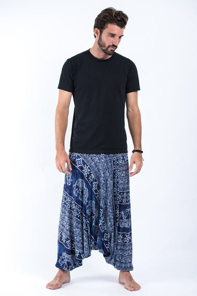 Marble Elephant Drop Crotch Men's Elephant Pants in Blue