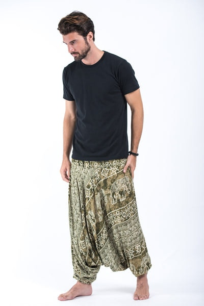 Marble Elephant Drop Crotch Men's Elephant Pants in Olive