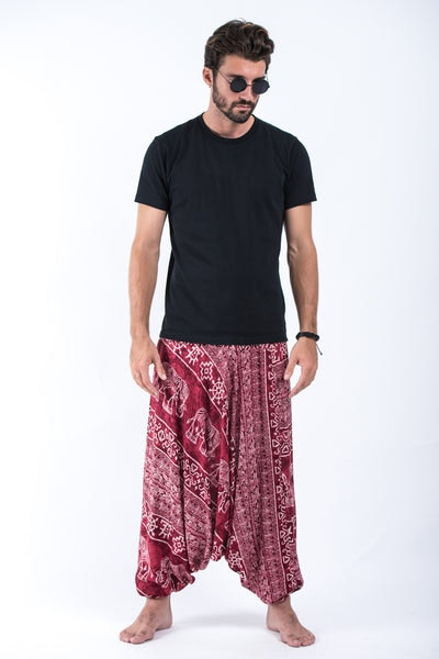 Marble Elephants Drop Crotch Men's Harem Pants in Red
