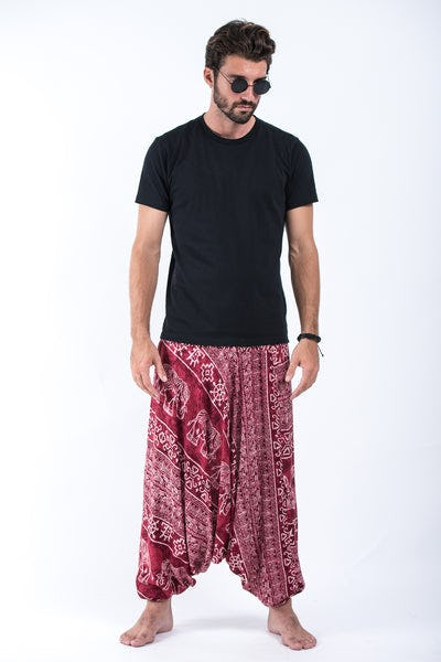 Marble Elephant Drop Crotch Men's Elephant Pants in Red