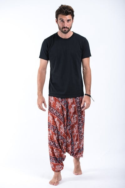 Aztec Elephant Drop Crotch Men's Elephant Pants in Rust