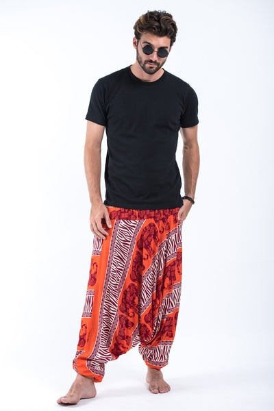 Safari Elephants Drop Crotch Men's Harem Pants in Orange