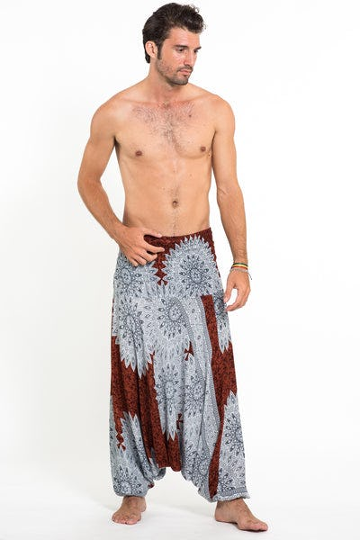 Marble Mandalas Drop Crotch Men's Harem Pants in Brown