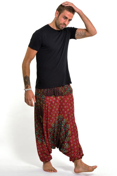 Peacock Mandalas Drop Crotch Men's Harem Pants in Red