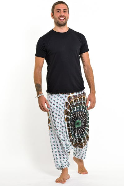 Peacock Mandalas Drop Crotch Men's Harem Pants in White