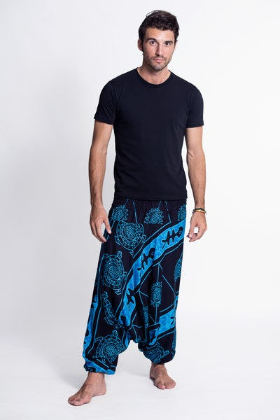 Turtle Print Drop Crotch Men's Harem Pants in Blue