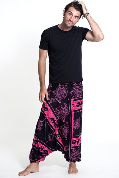 Turtle Print Drop Crotch Men's Harem Pants in Pink