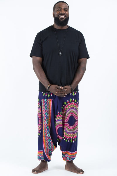 Plus Size Dashiki Prints  Drop Crotch Men's Harem Pants in Navy