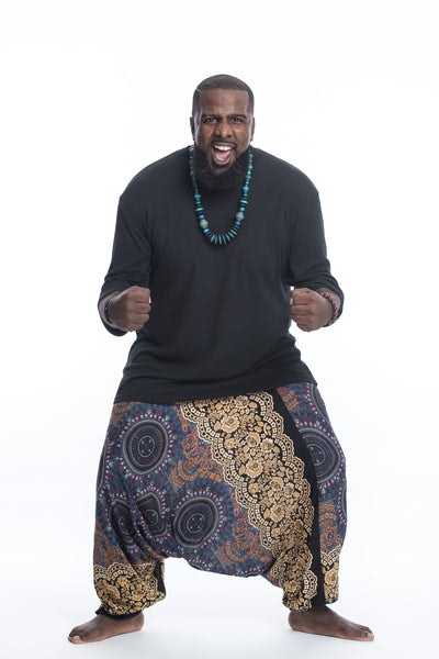 Plus Size Trishula Mandalas Drop Crotch Men's Harem Pants in Gold