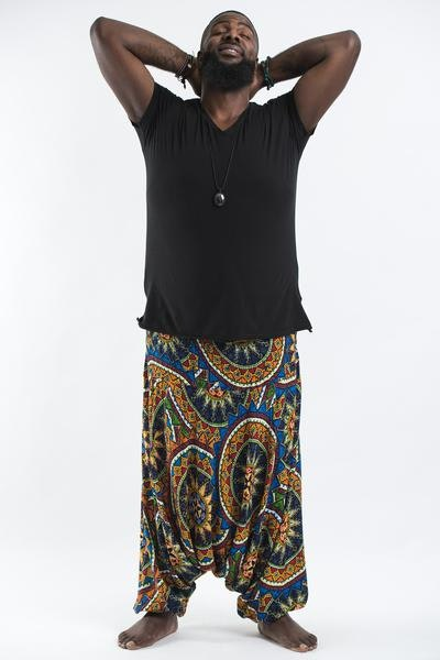 Plus Size Star Mandalas Drop Crotch Men's Harem Pants in Blue