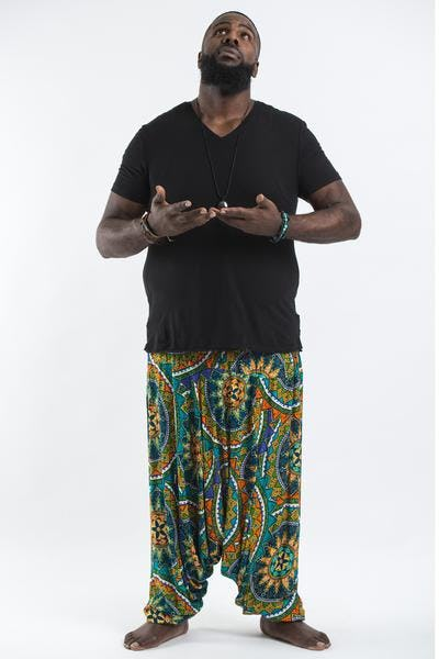 Plus Size Star Mandalas Drop Crotch Men's Harem Pants in Turquoise