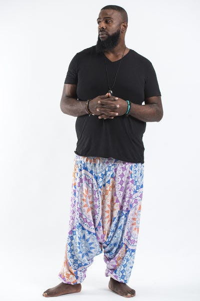 Plus Size Star Mandalas Drop Crotch Men's Harem Pants in Purple
