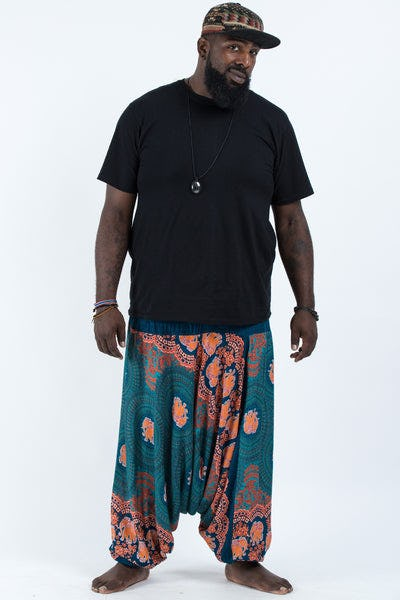 Plus Size Mandala Elephant Drop Crotch Men's Elephant Pants in Turquoise