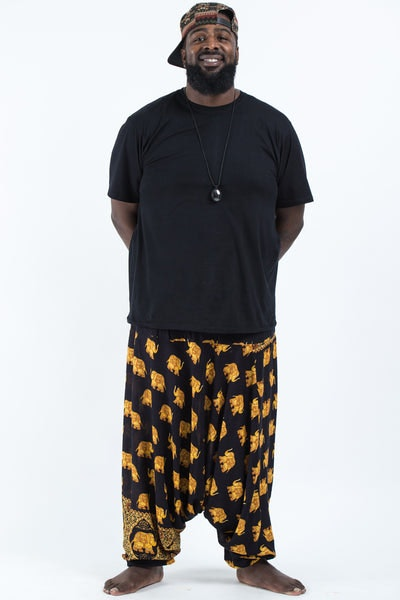 Plus Size Golden Elephants Drop Crotch Men's Harem Pants in Black
