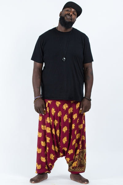 Plus Size Golden Elephants Drop Crotch Men's Harem Pants in Maroon