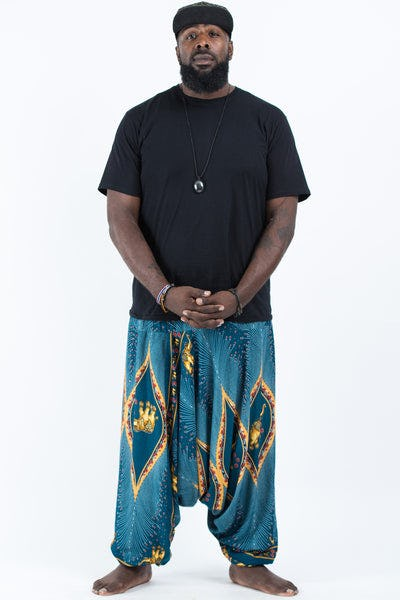 Plus Size Peacock Elephants Drop Crotch Men's Harem Pants in Turquoise