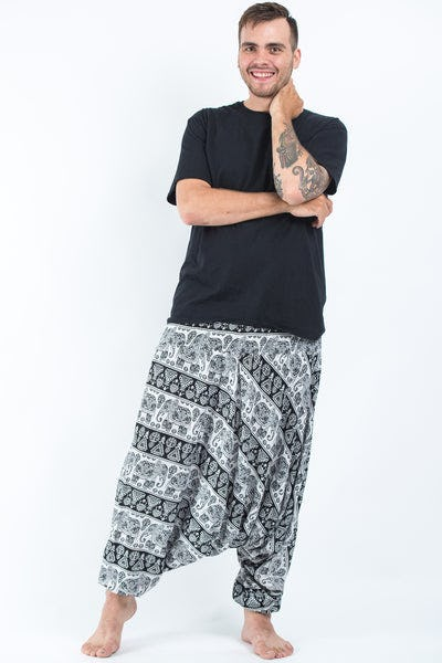 Plus Size Aztec Elephants Drop Crotch Men's Harem Pants in Black White