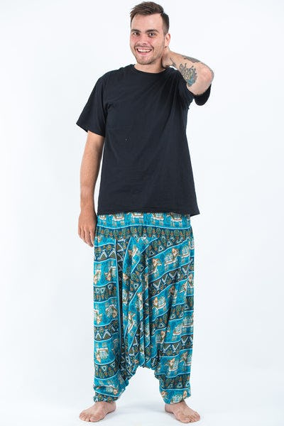 Plus Size Aztec Elephants Drop Crotch Men's Harem Pants in Ocean Blue