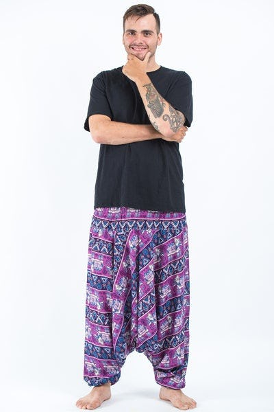 Plus Size Aztec Elephants Drop Crotch Men's Harem Pants in Purple