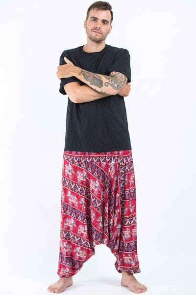 Plus Size Aztec Elephants Drop Crotch Men's Harem Pants in Red