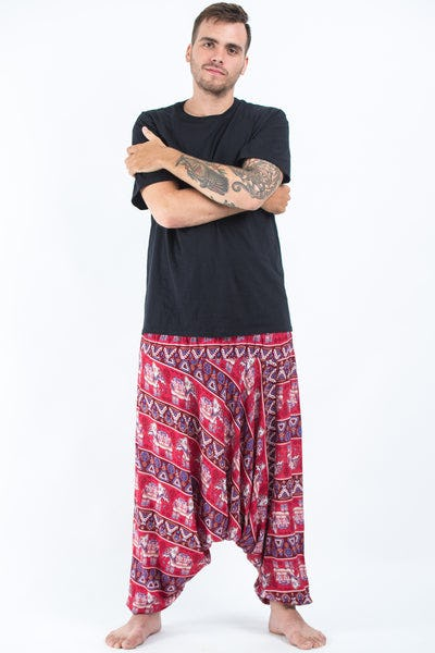 Plus Size Aztec Elephant Drop Crotch Men's Elephant Pants in Red
