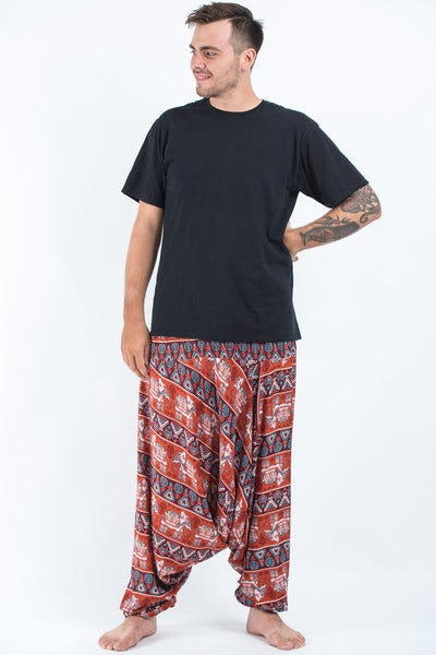 Plus Size Aztec Elephants Drop Crotch Men's Harem Pants in Rust