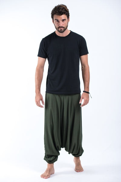 Solid Color Drop Crotch Men's Harem Pants in Dark Green