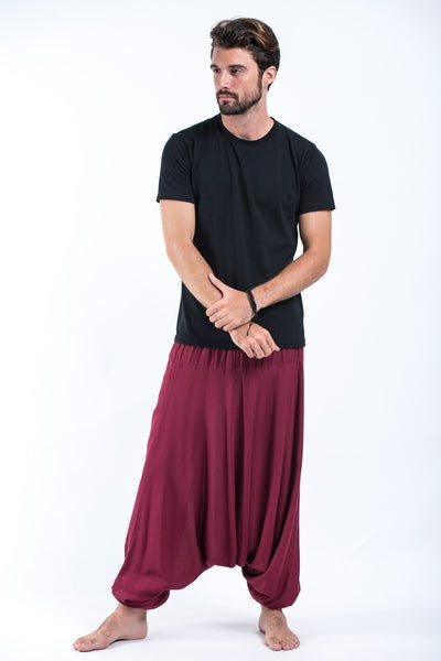 Solid Color Drop Crotch Men's Harem Pants in Red