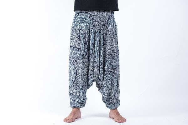 Paisley Elephant Drop Crotch Men's Elephant Pants in Blue