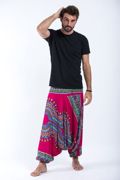 Dashiki Prints Drop Crotch Men's Harem Pants in Pink