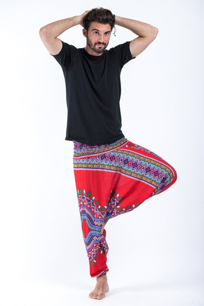 Dashiki Prints Drop Crotch Men's Harem Pants in Red